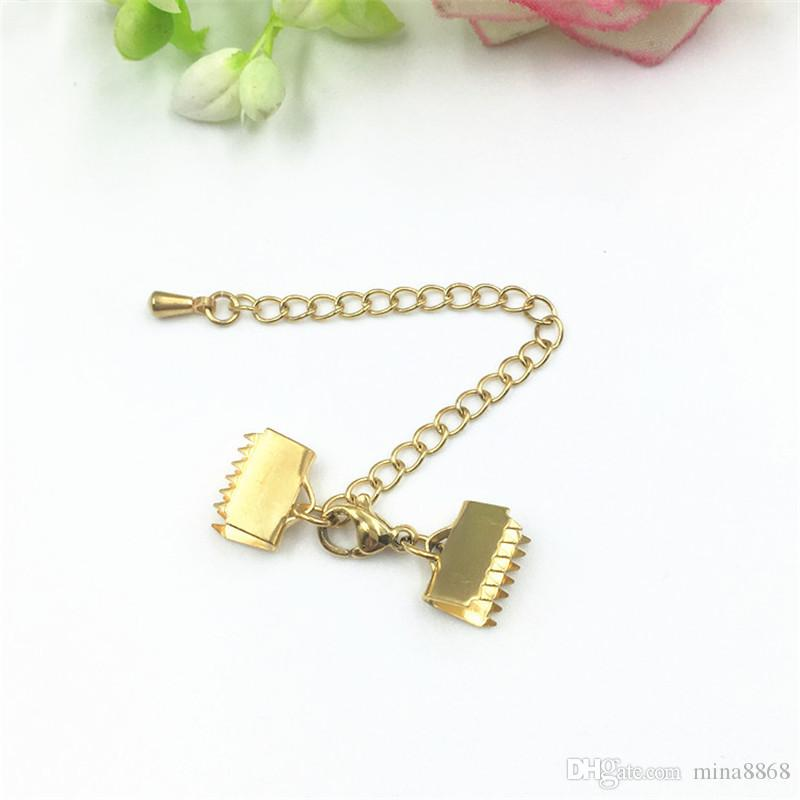 stainless steel clasps Ribbon Cord End Clamps Cap Crimps Beads Clips Buckle Fasteners Clasps gold Tone Findings