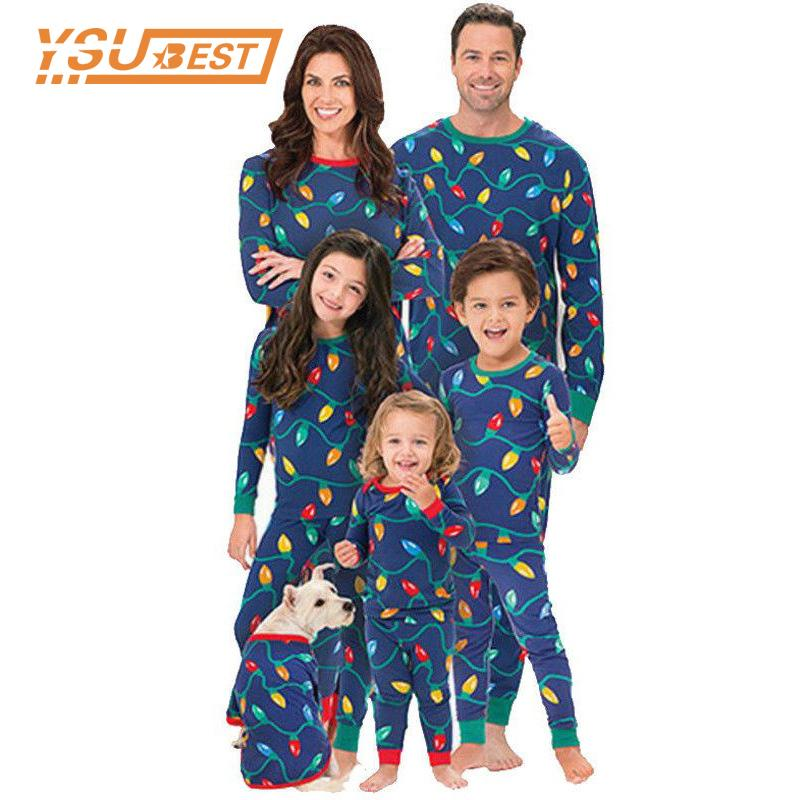 76f81e2012b2 2018 Family Matching Christmas Pajamas Sets Kids Gift Adult Xmas Sleepwear  Nightwear Clothing Family Colored Lights Clothes Set Matching Outfits For  Couples ...