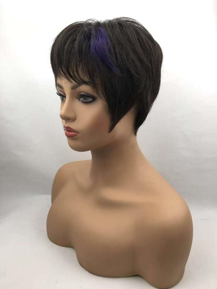 XW5S Kısa Siyah Ve Mor Karışık Renk Kişiselleştirilmiş Doğal Saç Kollu Gerçek Bakire Işık Nefes Saç Gerçekçi Düz Saç Şapka