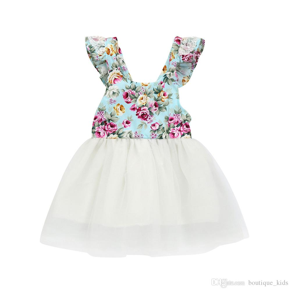 2019 2018 Summer Baby Girls Dresses Boutique Kids Clothing Toddler Girls  Floral Sleeveless Princess Dress Lace Tutu Party Dress Cute Sundress From  ... f0750c8d1543