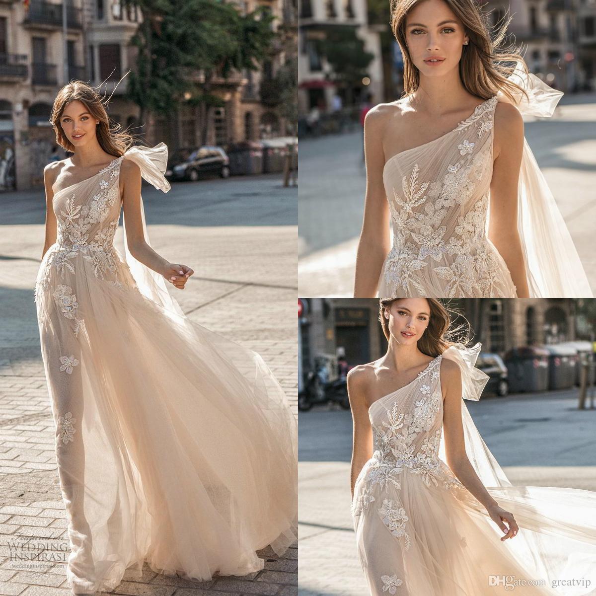 d2c2629f61c1 Discount Muse By Berta 2019 A Line Wedding Dresses One Shoulder Applique  Backless Tulle Sweep Train Bridal Gowns Plus Size Robe De Mariée Cheap  Wedding ...