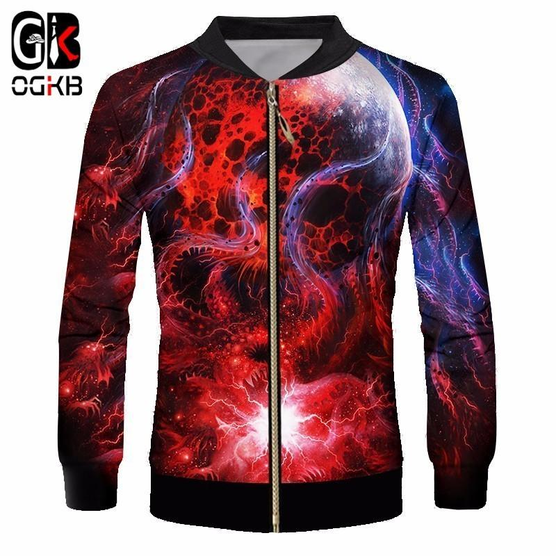 OGKB Men/women Novelty 3d Printed Red Galaxy Space Jacket Casual Cool Hiphop Punk Style Coats Long Sleeve Sweatshirt Tracksuit