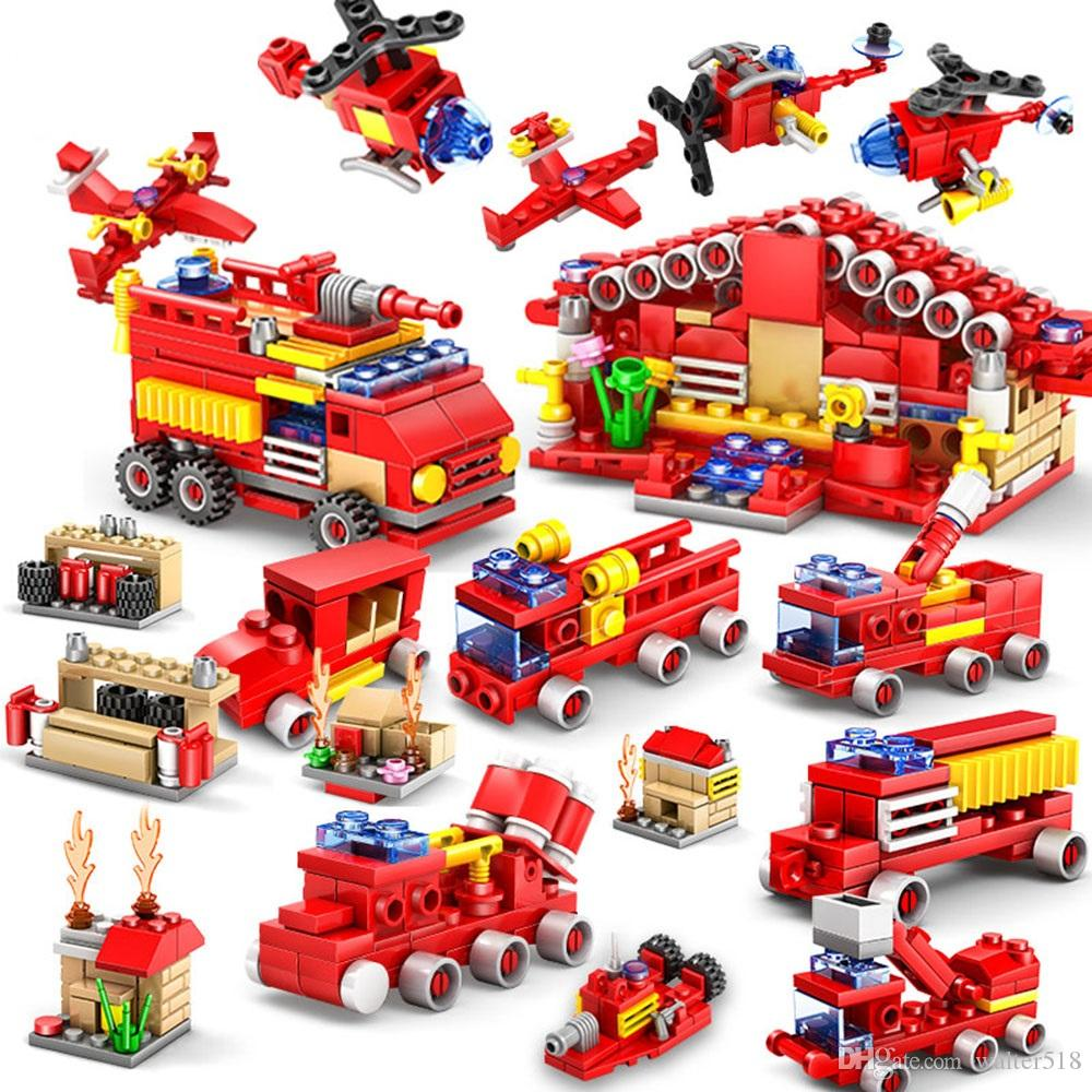 16pcs/lot Nano Blocks Cute Building Bricks 3D DIY Fire Engine Anime Model Educational Toys for Kids Gifts CF-001