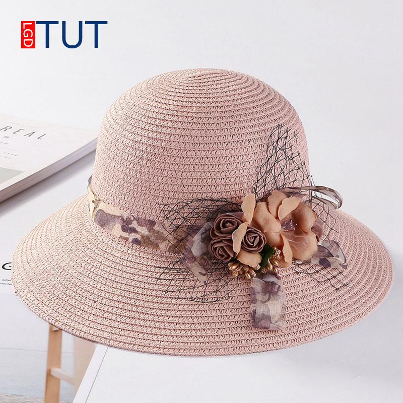 b8a607c91d0 Summer Woven Straw Hat for Women Outdoor Collapsible Hats Sunscreen ...