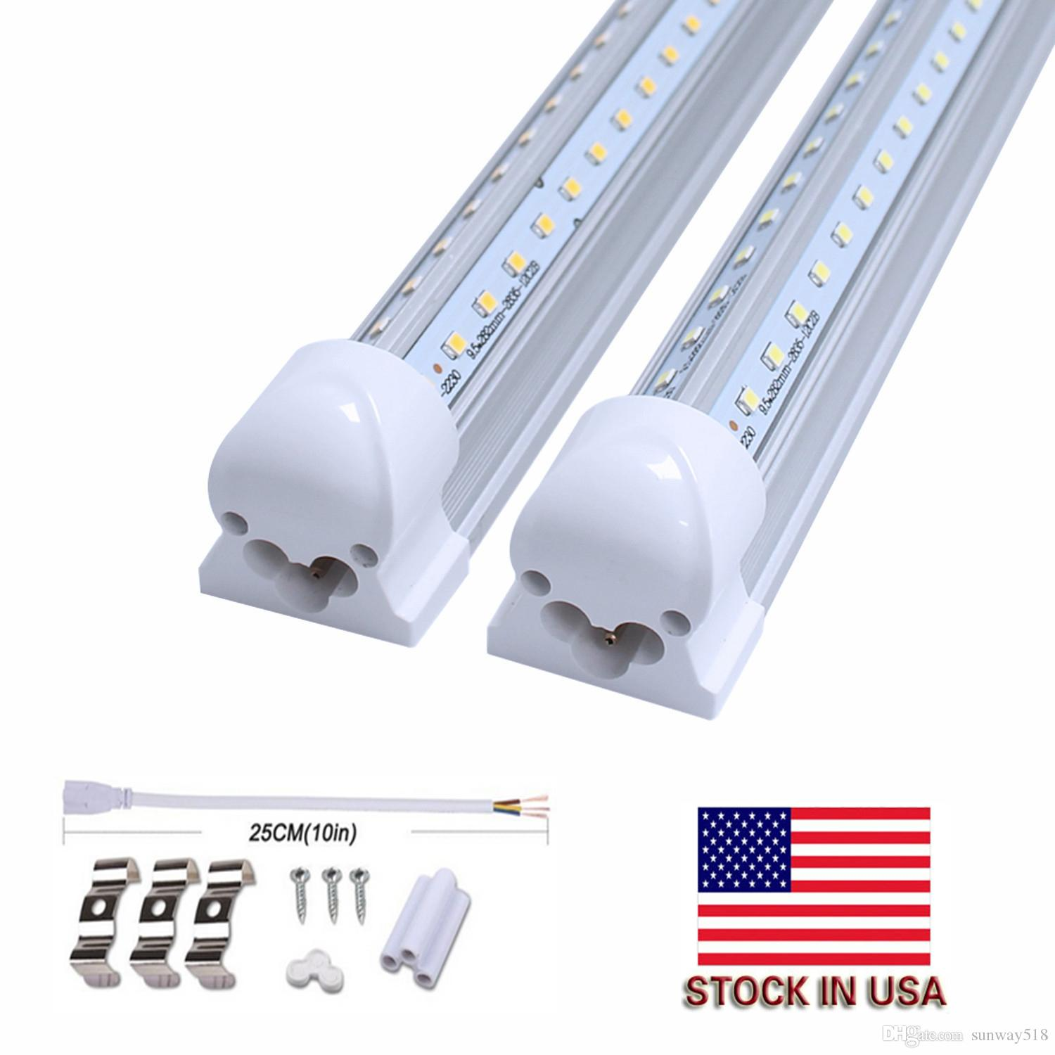 4ft Led T8 Tubes Light Smd 2835 Integrate Tube 5ft 6ft 8ft Fluorescent To Wiring Diagram Lights V Shaped White 6500k Double Row Circuit