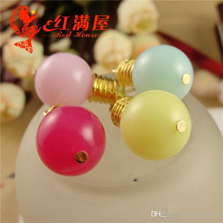 A3888 25 * 14 MM cor Misturada aleatória lâmpadas encantos pingentes, diy acessórios do telefone móvel pulseira de cobre charme, metal oscilar charme