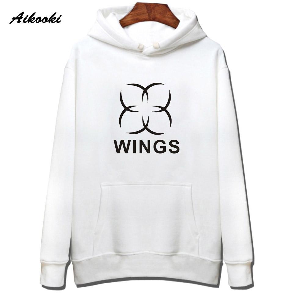 f5f19aecd0f84 2019 2018 Hot BTS WINGS Hoodies Men Women Harajuku White Cotton BTS ...