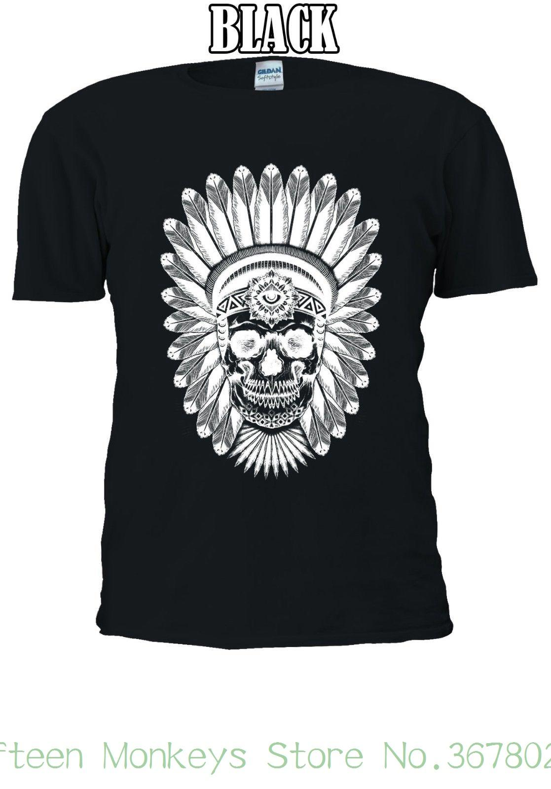 b10c90d48 Women'S Tee Indian Skull Skeleton Cool Indie T Shirt Men Women Unisex 1136  Printed Tops Popular Tees Awesome Cheap T Shirts Online Shopping For T Shirt  From ...