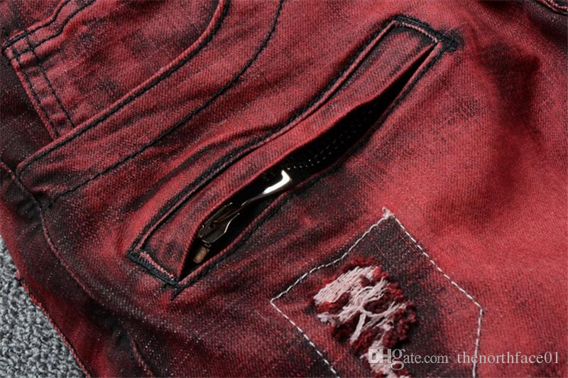 Balmain New Fashion Red jeans mens denim trousers fashion cotton jeans mani pants male men famous brand classic denim jeans