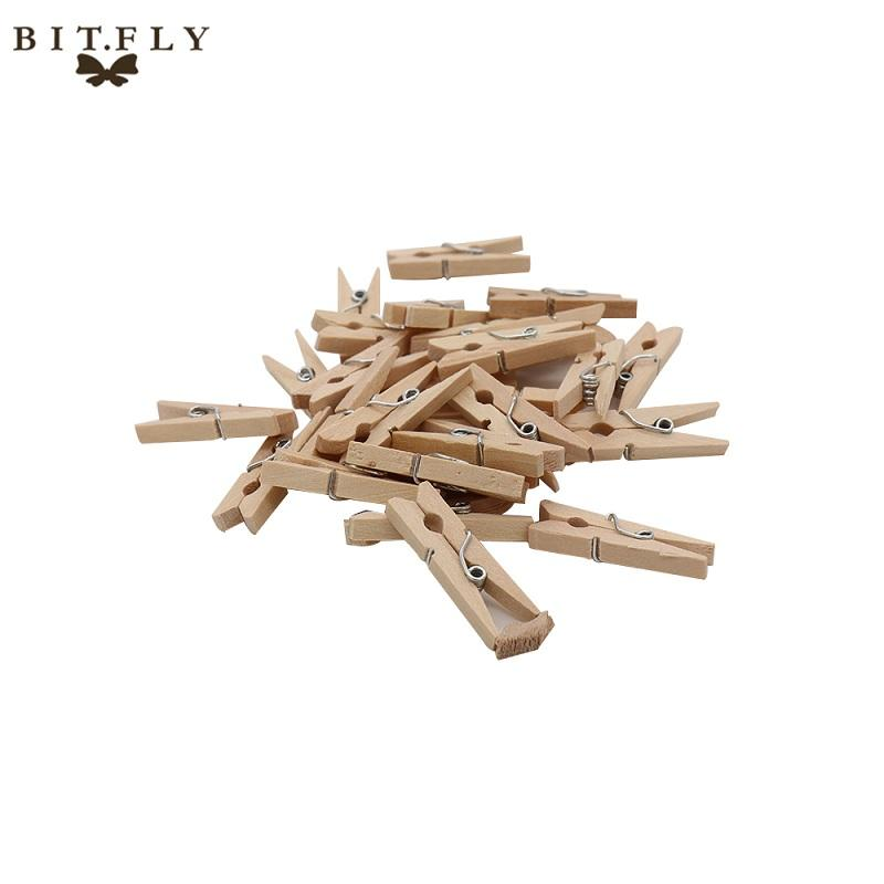 BITFLY Mini Natural Wooden Clips For Photo Paper Clips Clothespin diy Craft Wedding Party Decoration Office Supplies