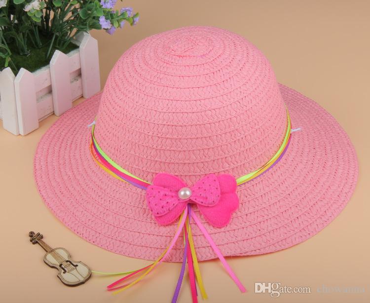Summer Baby girl kids straw sun hats sunhats wide brim beach hat Crochet hats Children caps
