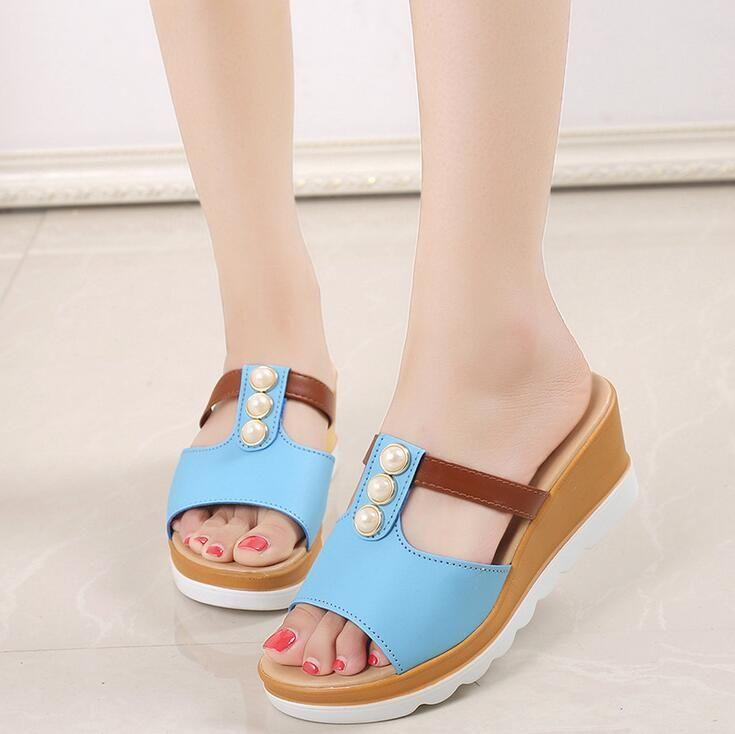 Women Flip Flops Beach Sandals Wedges Ladies Fashion Bling Pearl Slippers Summer Women Flats Shoes