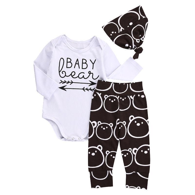 Newborn Baby Girls Boy Clothing Set Autumn Winter Bear Tops Romper