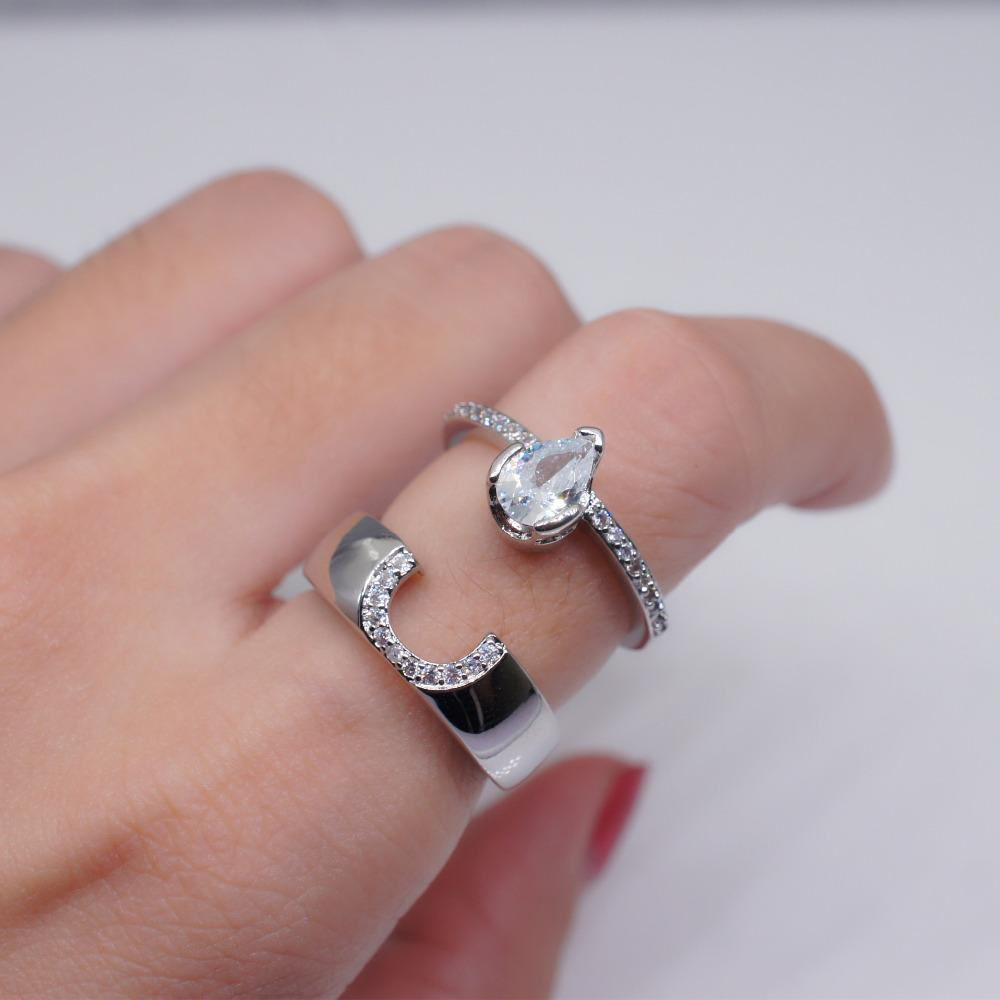 12eadfebfd 2019 New Stylish Silver Rings For Women Ladies Simple Jewelry Accessories Creative  Couple Rings Size6 10 Wedding Engagement Gifts From Uline, ...
