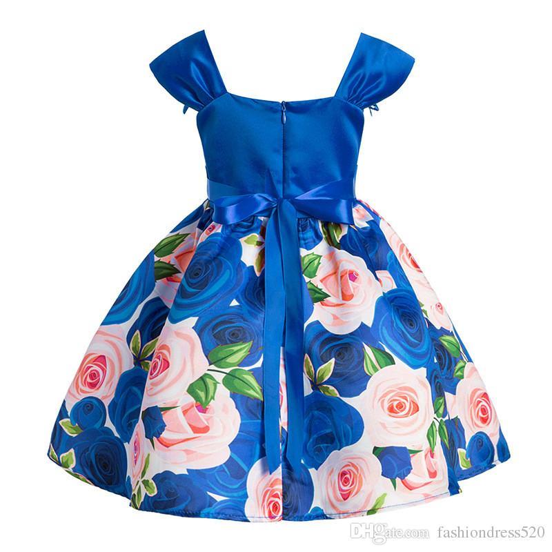 Bebek Kız Büyük Gül Baskılı Prenses Elbise Düğün parti için Çocuklar için Elbiseler Yürüyor Kız Çocuk Moda Balo Giyim Elbise