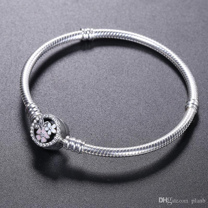 925 Pulsera de plata esterlina flor flor esmalte Corchete para Pandora Joyería Charm Bracelet Caja original Mujeres Pulseras de Boda