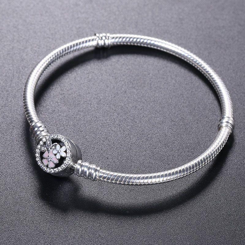 925 فضة سوار زهرة المينا المشبك ل باندورا المجوهرات سحر سوار المربع الأصلي النساء أساور الزفاف