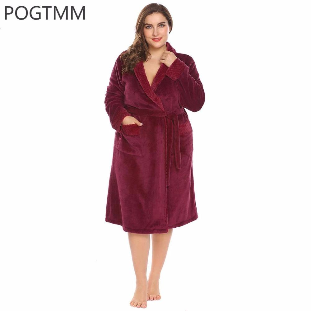 f0830e35f6 2019 Large Size 5XL Winter Plush Flannel Bathrobe Women Long Sleeve Shawl  Collar Spa Soft Warm Plus Dressing Gown Sleepwear Peignoir From Lucycloth