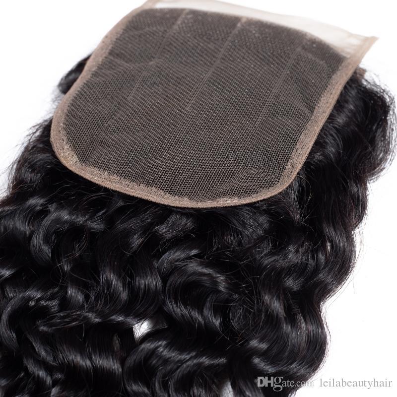 Mongolische 4X4 Spitze Schliessen mit 3 Bundles Wasser Welle Menschenhaar extenisons 95-100g / piece Wasser-Wellen-Haar-Einschlagfaden mit Verschluss Baby-Haar