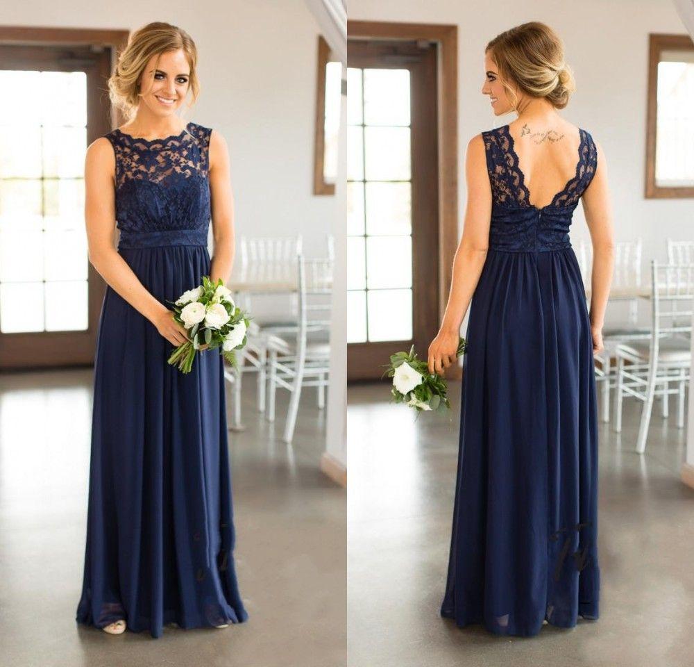 Vestidos dama de honra 2020 barato novo País para casamentos Azul marinho Jewel Neck Lace apliques Pavimento Length Plus Size extra formal de honra Vestidos