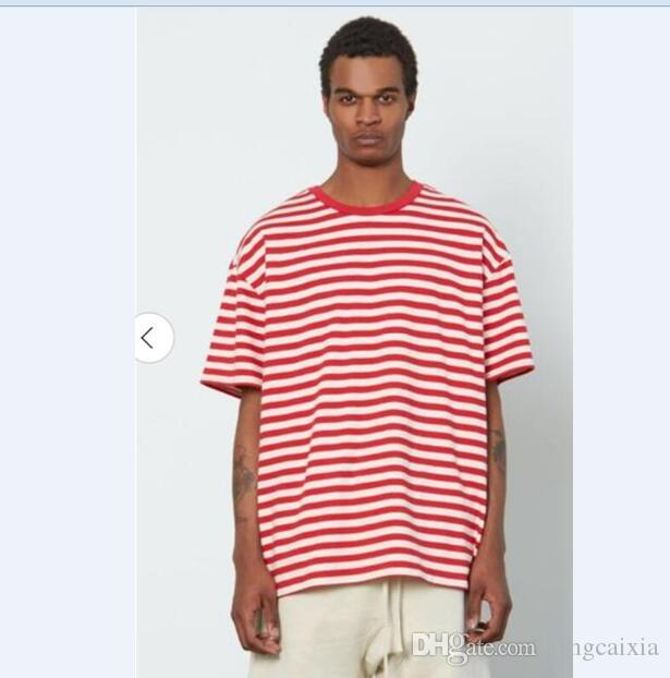 1a99072afc1 Men Designer Cotton T Shirt High Quality Streetwear Fashion Red Striped  Oversized T Shirt Hip Hop