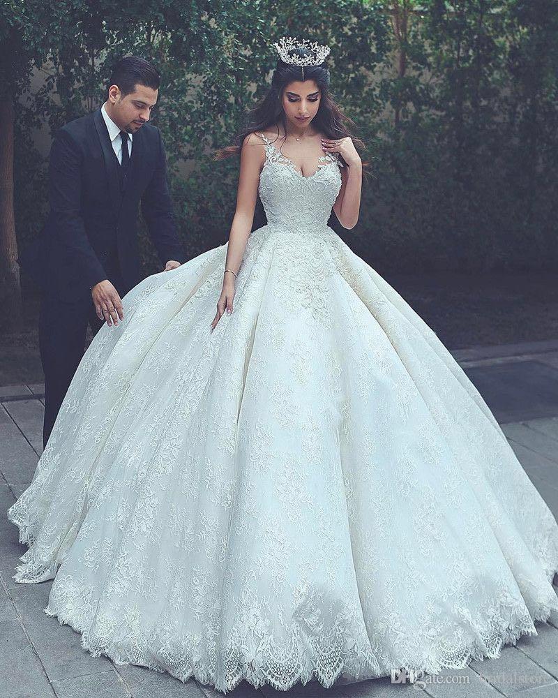 Princesses Ivory Ball Gown Wedding Dresses Saudi Arabia V Neck Applique Lace Pakistani Bridal Gowns Plus Size Puffy Corset Turkey 2019