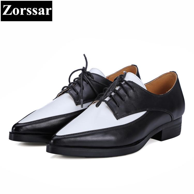 32dad21e42197 {Zorssar} Women Shoes flat heel Fashion Real leather pointed toe Women  flats shoes Casual lace-up Womens dress Oxford