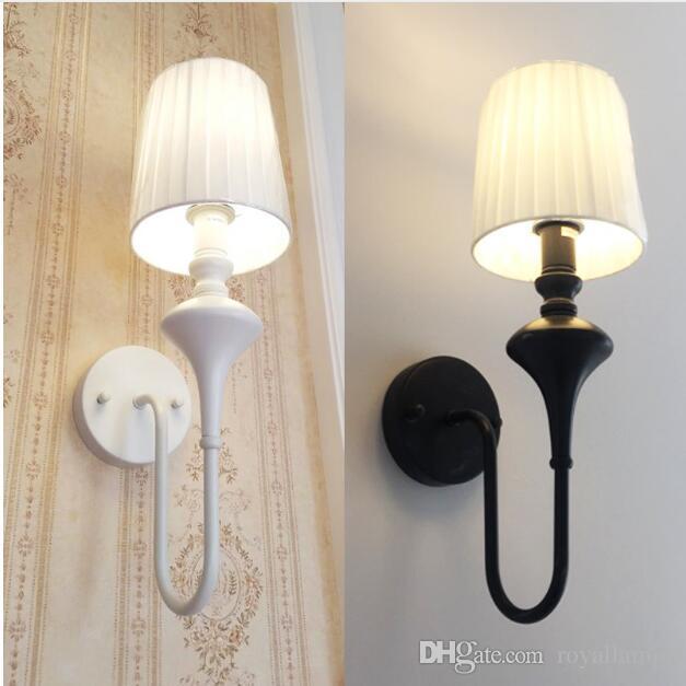 SVITZ American chevet lampe de salon salon chambre rétro jardin  méditerranéen noir / blanc LED appliques murales pour la maison