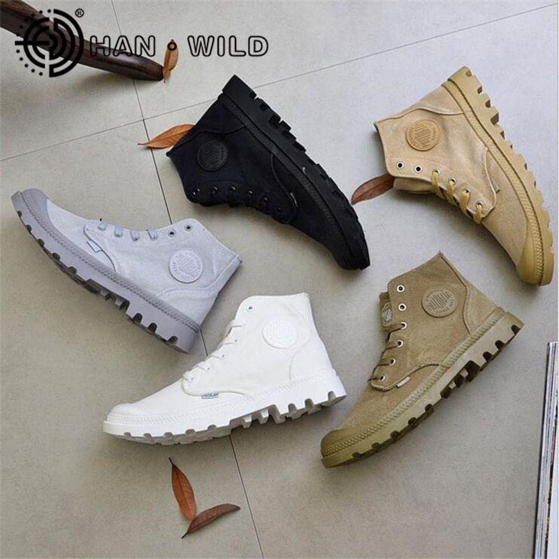 114cd8496 Compre 2019 De Alta Calidad De Lona De Los Hombres Botas De Cordones  Zapatos De Lona Masculinos Tobillo Botas Vaquero Motocicleta Hombres Botas  Militares ...
