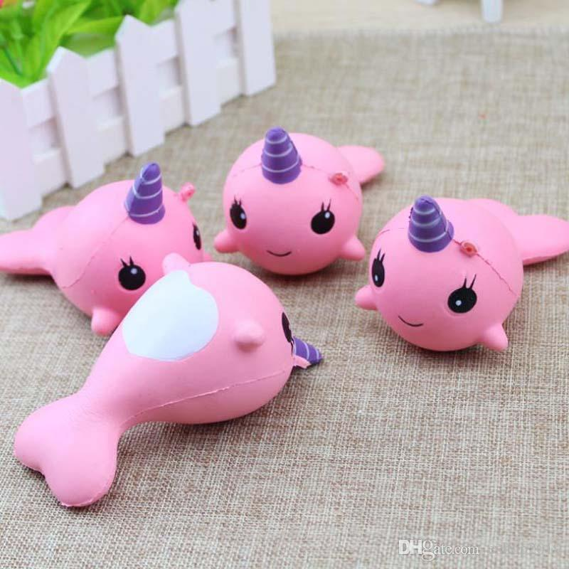 Squishy Slow Rising Cute Whale Squishies Toys Kawaii Squishy Cartoon Ballchains Soft Decompression Cellphone Backpack Home Office DIY Decor