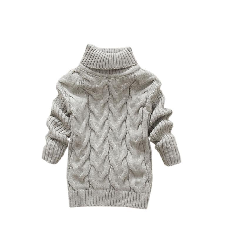 436ada316b97 Boys Girls Kids Sweater Knitted Bottoming Turtleneck Shirts Solid ...