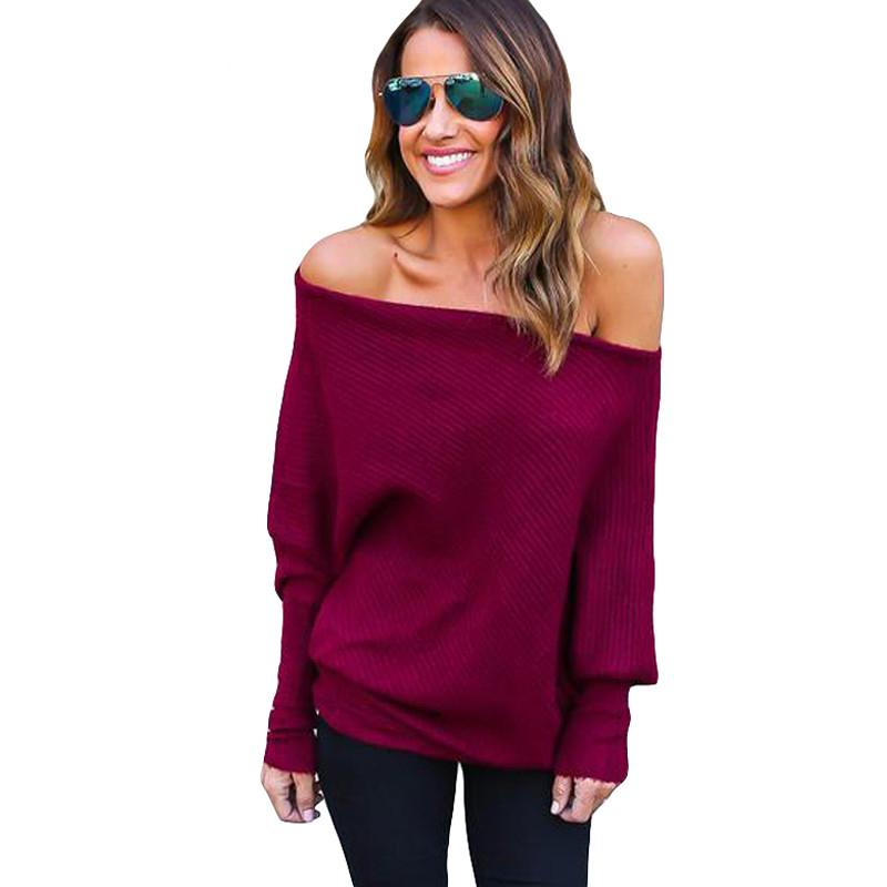 2e46e8feab4d Sweater Women 2019 New Spring/Autumn/winter Fashion Sexy Dew Shoulder Long  Batwing Sleeve Knitting Sweater Solid Women Clothing Online with  $35.06/Piece on ...