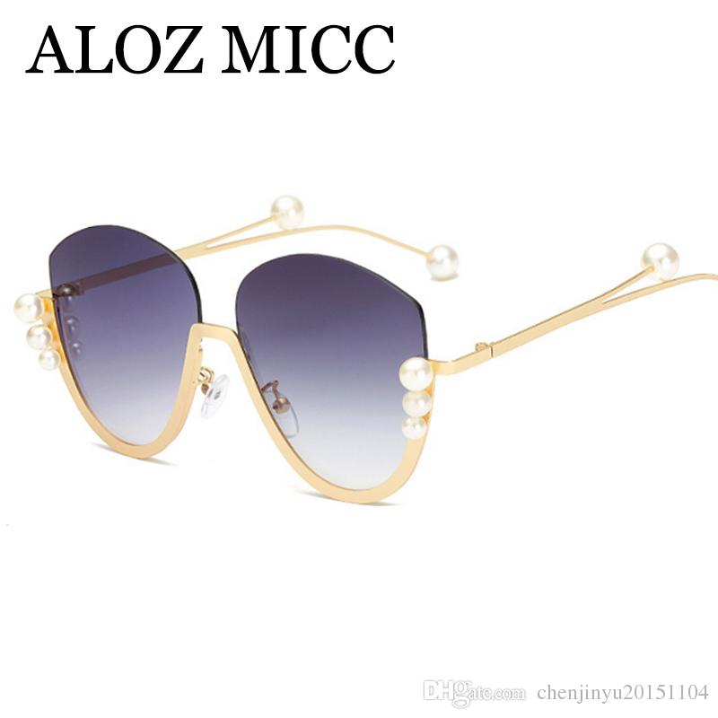 8e463a8230 ALOZ MICC Fashion Semi Rimless Sunglasses Women Luxury Big Pearl Sun Glasses  Female Metal Frame Eyewear UV400 A618 Mirrored Sunglasses Heart Sunglasses  From ...
