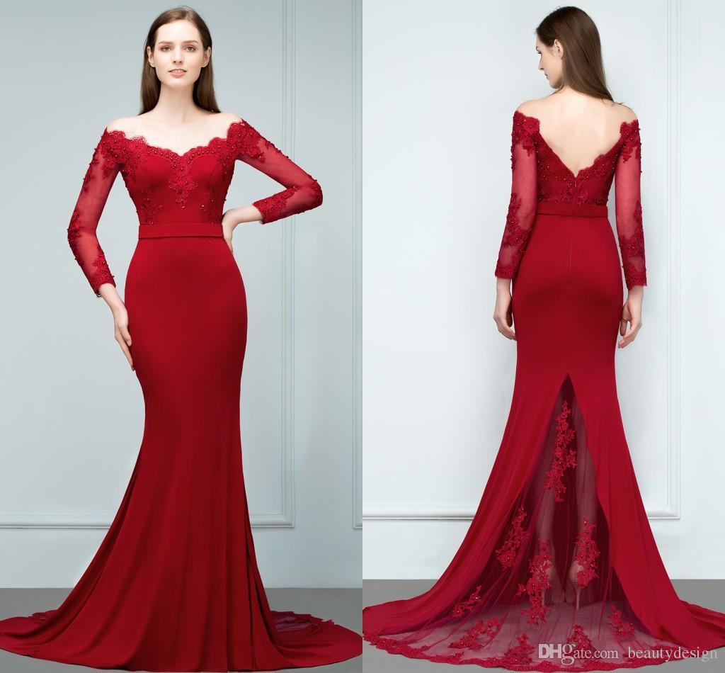 2018 Vintage Long Sleeves Red Designer Prom Dresses Off Shoulder ...