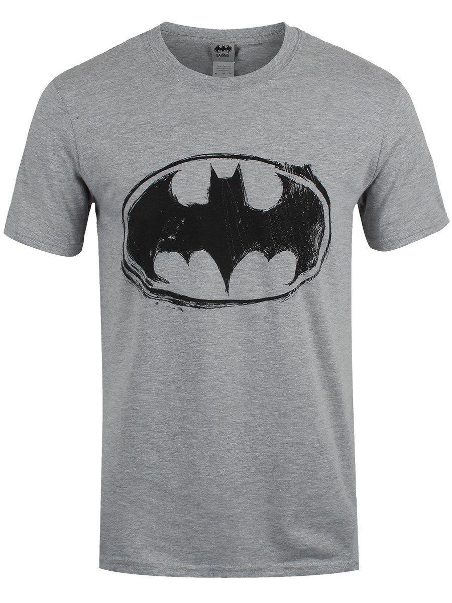 buy online c22c6 7d5ce DC Comics Herren T-Shirt Batman Logo Skizze grau
