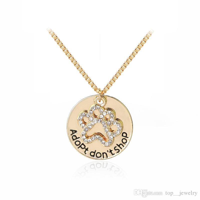 "Brand New ""Adopt don't shop"" Round Pet Paw Print Rhinestone Necklaces Cute Animal Dog Cat Memorial Jewelry Pet Lover Puppy Paw Necklace"