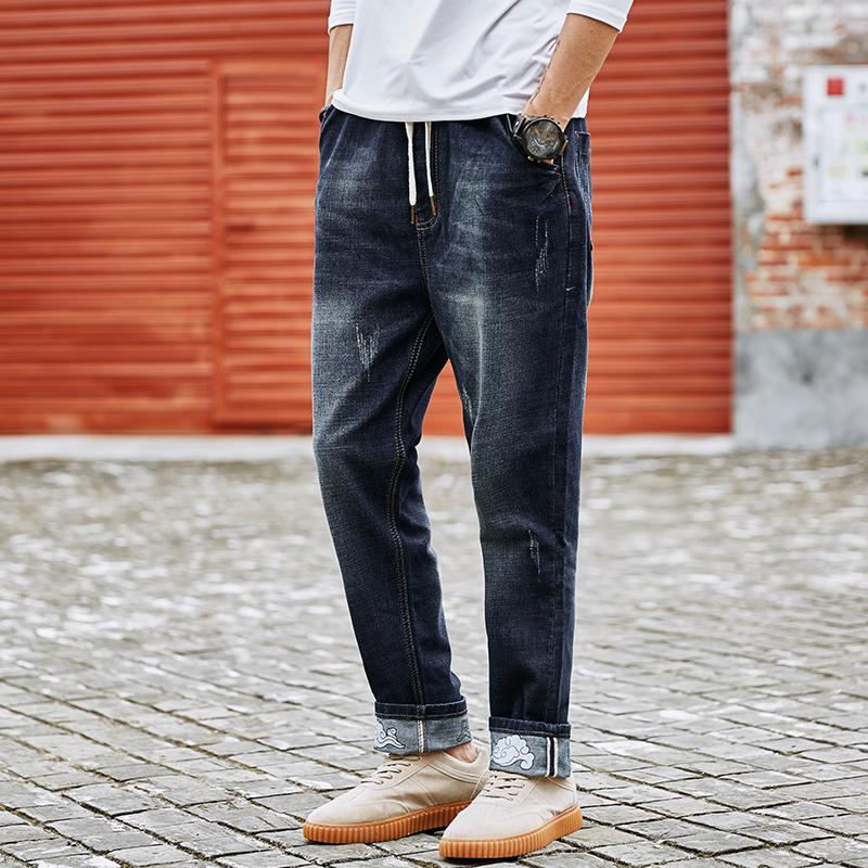 6a8f2d9024b 2019 Plus Size M 6XL 7XL 8XL Large Tall Men Jeans 2018 Spring Casual High  Elastic Retro Ripped Blue Jeans Fashion Design Men Pants From Mujing