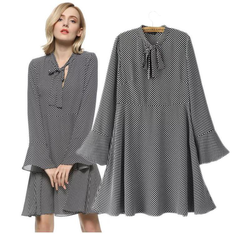 Lady large size XL-5XL chiffon wave point pattern loose dress women plus big code elegant Bell sleeve one piece work casual dress