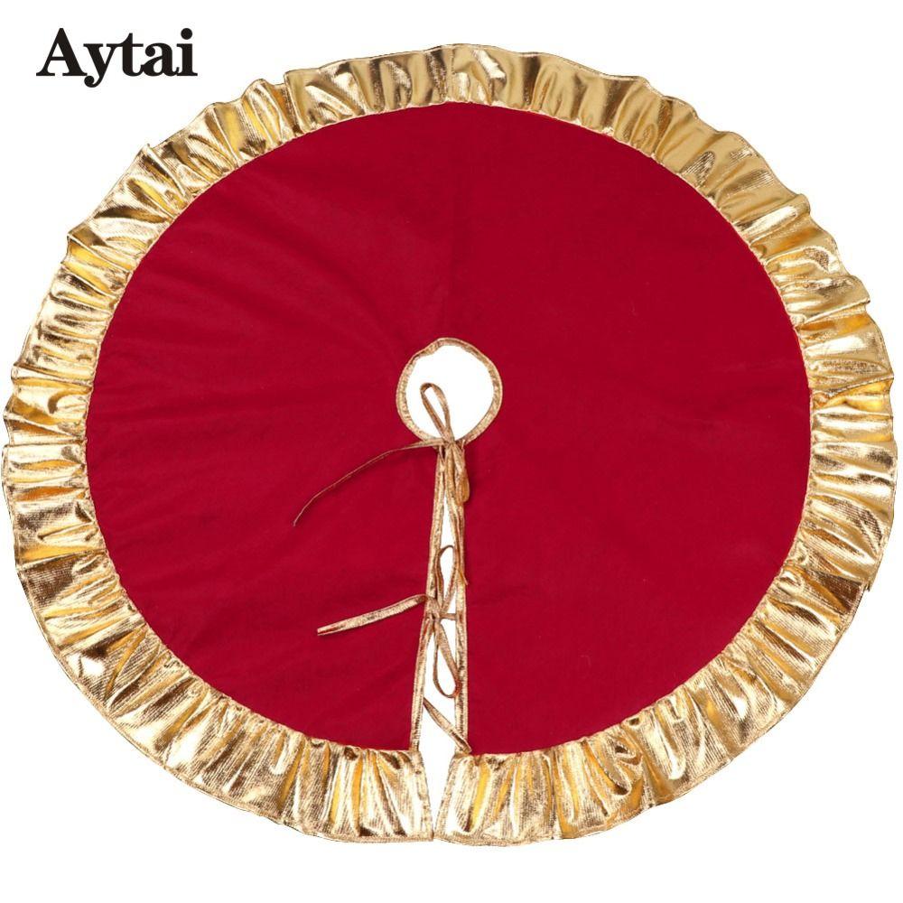 Aytai 90cm Red Christmas Tree Skirt Golden Edge Ruffle Tree Skirt For Christmas Decorations For Home 2019 New Year Decoration