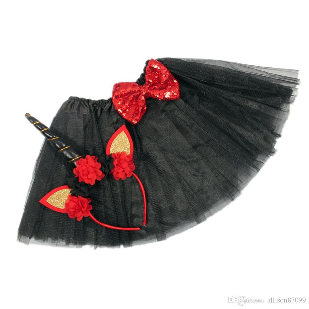 INS Christmas Baby girl tutu skirt with Unicorn Horn Flowers Hair hoop Baby 2018 European Hotsale