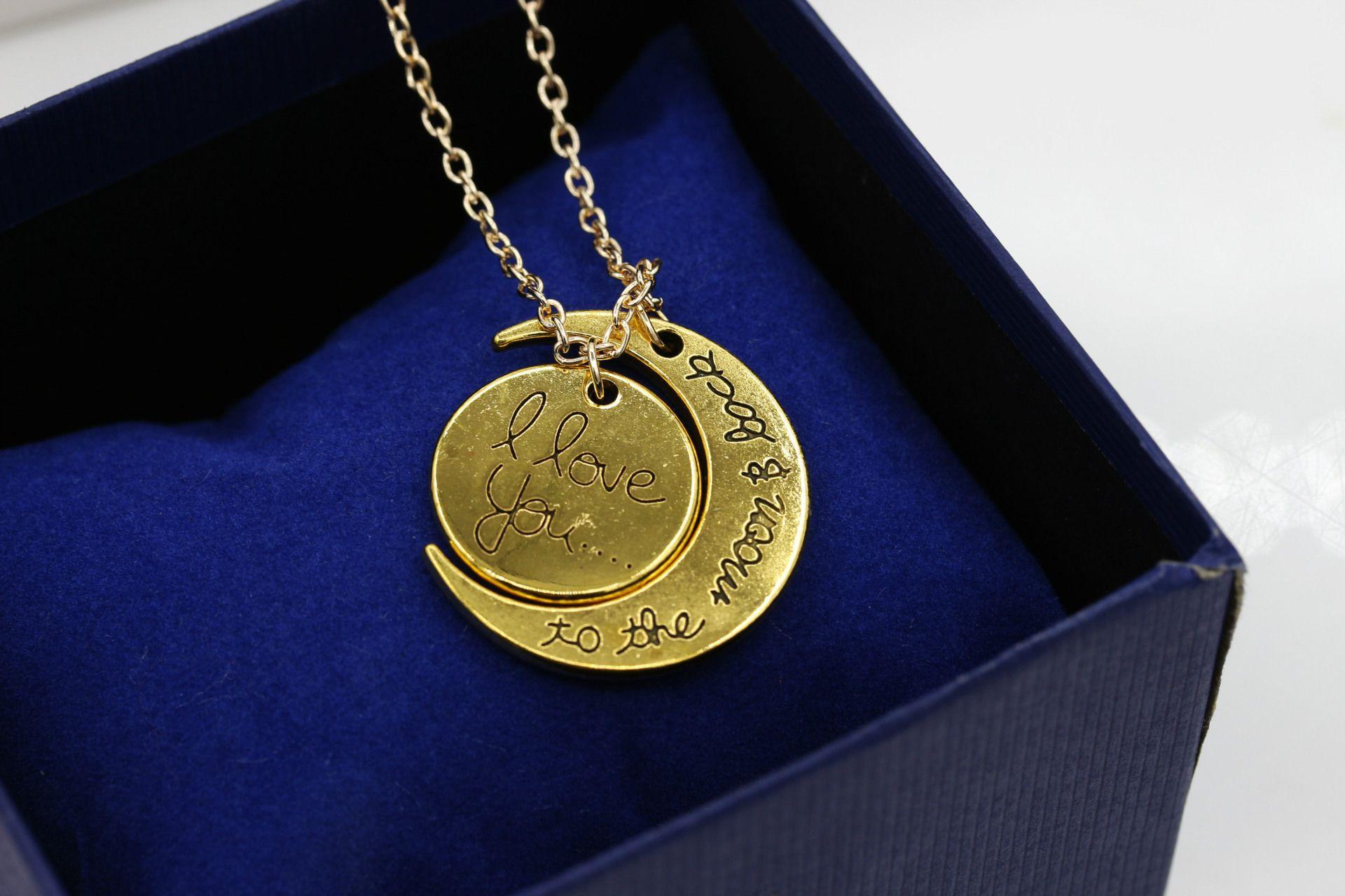 2 cores eu te amo para a lua e volta colar new hot pingente colares de ouro e prata