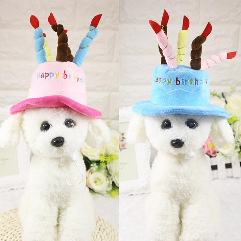 2018 Pet Dog Birthday Caps For Small Dogs Cat Hat With Cake Candles