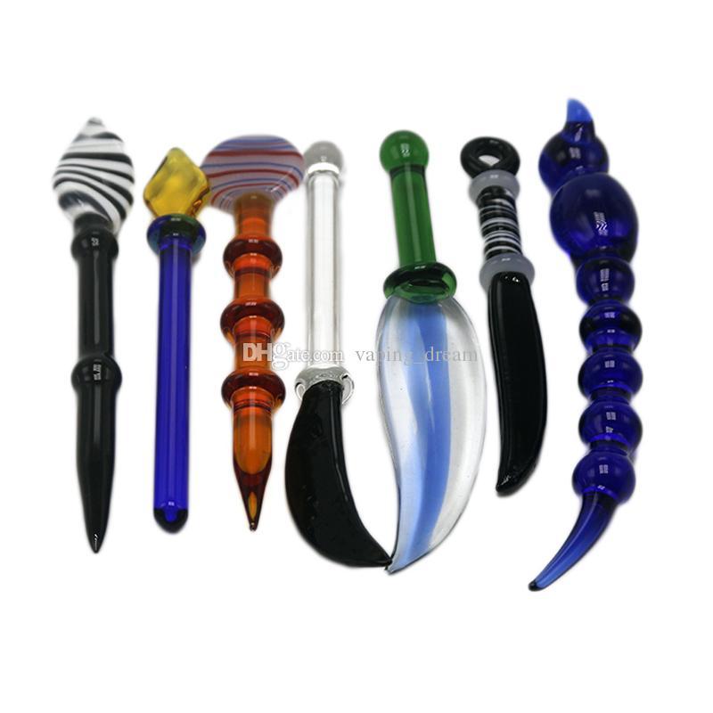 7 Style de verre Bongs accessoires Couteau coloré Outils Smoking DABBER Pour l'huile Rig verre pipe à eau en verre Perc Bongs