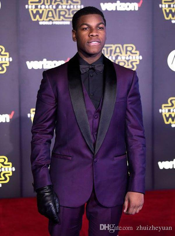Custom Made Purple Wedding Tuxedos 2018 Slim Fit Black Lapel ...