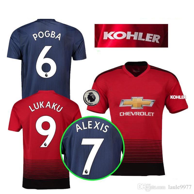 fe0053f44 Online Cheap 2018 2019 Premier League Alexis Lukaku Pogba Man Martial Utd  Lingard Rashford Soccer Jersey Custom Home Away Red Blue 18 19 Football  Shirt By ...