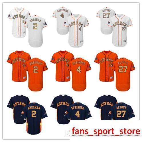 online store 32b4d 03678 2019 Men s Majestic Astros Jersey #4 George Springer 27 Jose Altuve 2 Alex  Bregman White 2018 Gold Program Baseball Jerseys