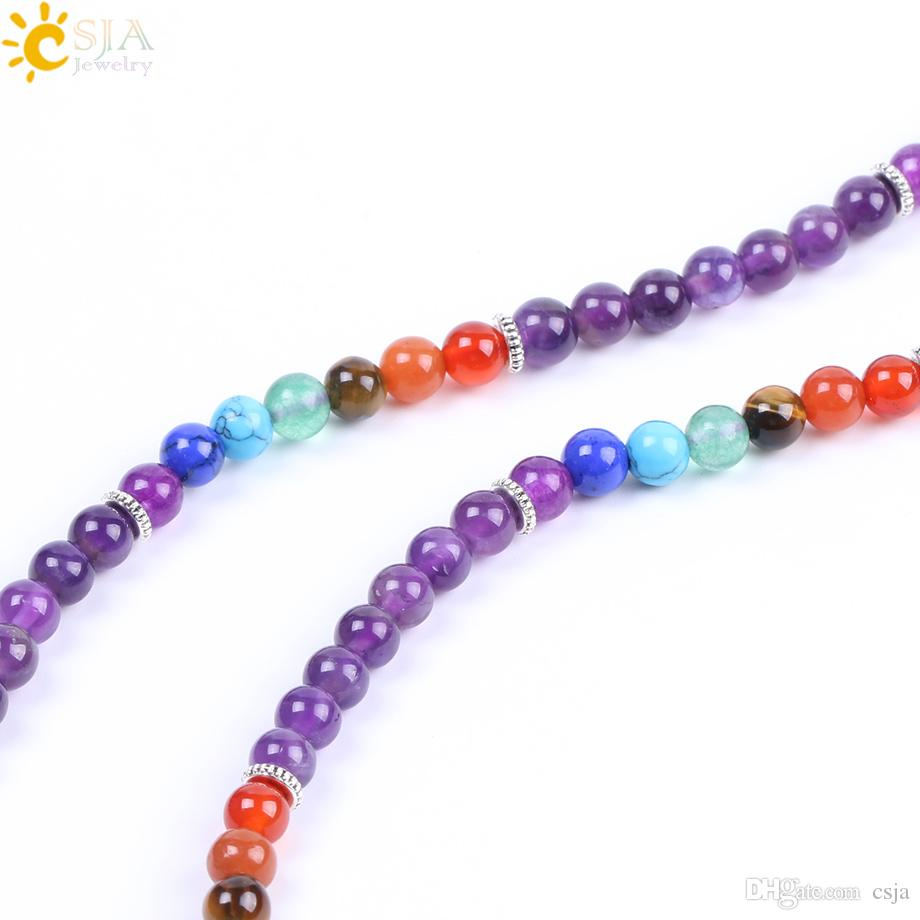 CSJA 108 Mala Natural Gemstone Bracelet 6mm Round Amethyst Rainbow Beaded Bracelet Women Bohemian Yoga Mediation Jewelry Wholesale F210
