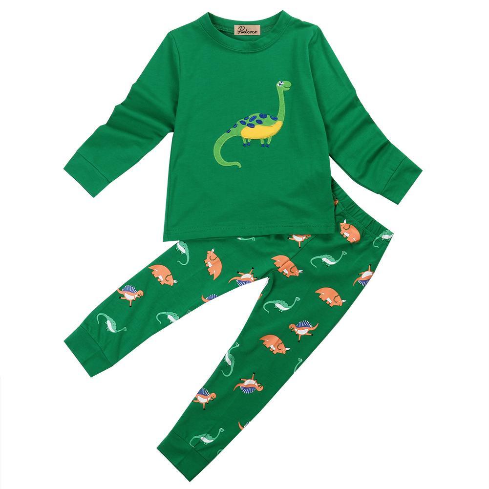quality design 7cf40 9145a Pigiama di dinosauro per bebè da bambina per bebè Neonato per bebè T-shirt  da notte a maniche lunghe pantaloni in cotone verde