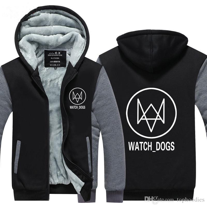 en Velvet Thicken Hooded Sweatshirts Anime Watch Dog 2 Zipper Hoodies Winter Cardigan Jacket Coat Pullover USA EU Size Plus Size