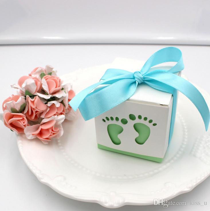 100 adet Bebek Duş Şeker Kutuları Doğum Günü Partisi Düğün Iyilik Ve Hediyeler Boy Pembe Kağıt Dekorasyon Olay Parti Malzemeleri